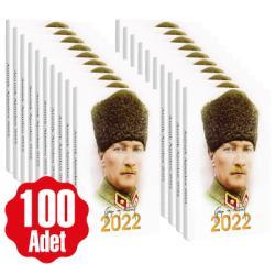 100 Adet - 2022 Atatürk Ajandası - Kalpaklı