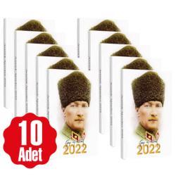10 Adet - 2022 Atatürk Ajandası - Kalpaklı