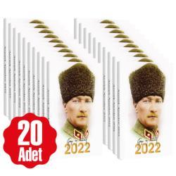 20 Adet - 2022 Atatürk Ajandası - Kalpaklı