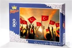 Bayrak Sevgisi (500 Parça) - Ahşap Puzzle Türkiye Serisi - (TR02-D)