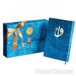 Çantalı - Orta Boy Nubuk Kur'an-ı Kerim (Mavi, Vavlı, Mühürlü)