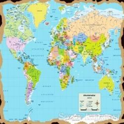 Dünya Haritası Ahşap Magnet