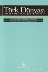 Türk Dünyası Dil ve Edebiyat Dergisi Sayı: 37 Bahar 2014