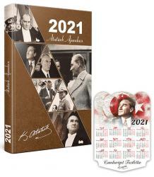 2021 Atatürk Ajandası (Kahverengi) - Takvim Hediyeli