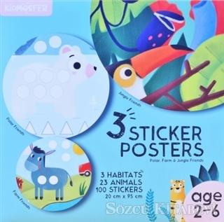 3 Sticker Posters - Polar, Farm and Jungle Friends (2-6 Age)