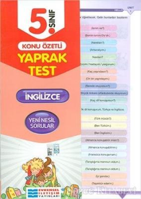 5. Sınıf İngilizce Konu Özetli Yaprak Test
