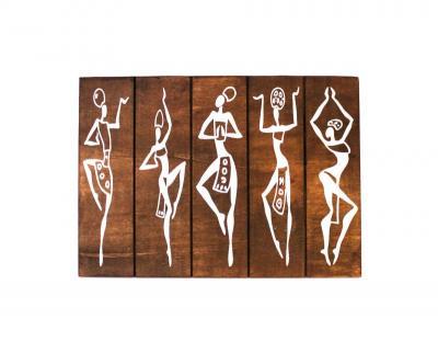 Afrikalı Dansçı Kızlar Ahşap Tablo