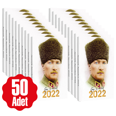 50 Adet - 2022 Atatürk Ajandası - Kalpaklı