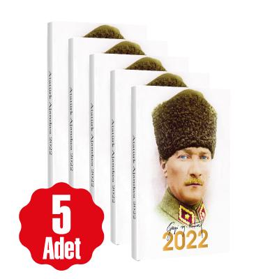 5 Adet - 2022 Atatürk Ajandası - Kalpaklı