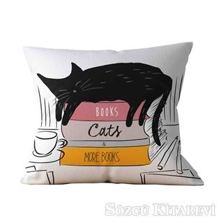 Bookstagram Yastık - Kitaplar Kediler