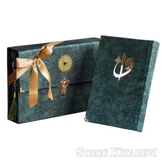Kolektif - Çantalı - Orta Boy Nubuk Kur'an-ı Kerim (Yeşil, Vavlı, Mühürlü) | Sözcü Kitabevi