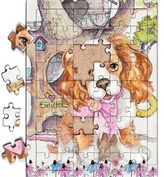 Sevimli Köpek ve Ağaç Ev Ahşap Puzzle 54 Parça (LIV-22)